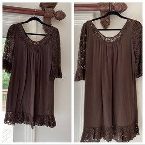 Brown cotton blend lace trimmed dress by Moda (VS)